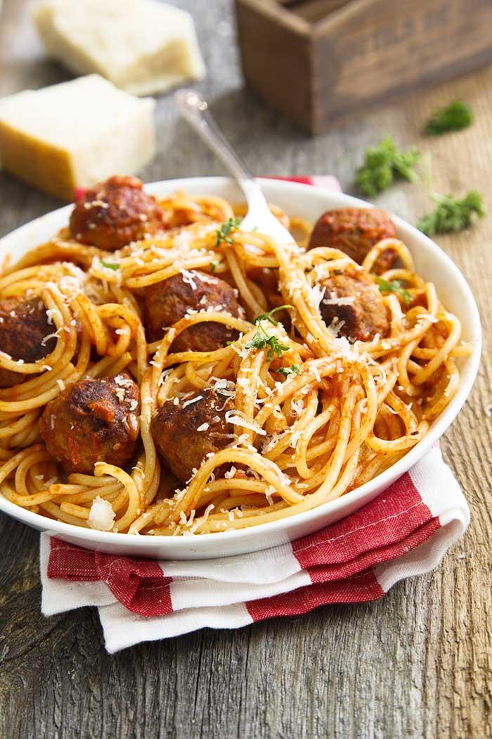 pork meatball spaghetti pasta